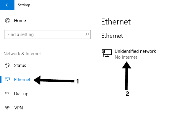 Click on the Ethernet connection