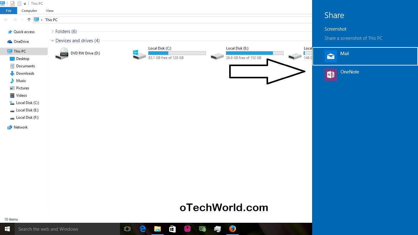 How to take a screenshot on windows 10 7 ways otechworld with this method you can send a screenshot without saving it on your windows 10 ccuart Gallery