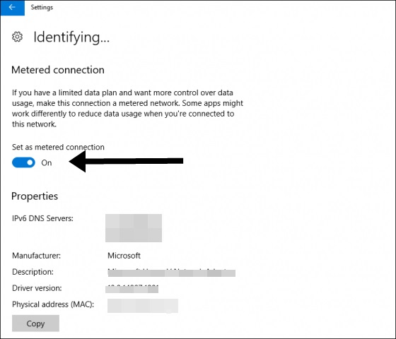 Set as metered connection to restrict background data in windows 10