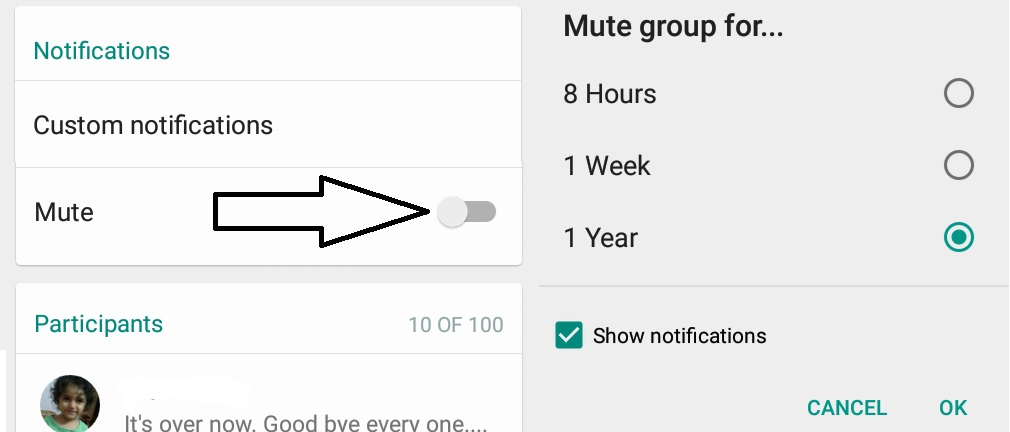 mute group whatsapp