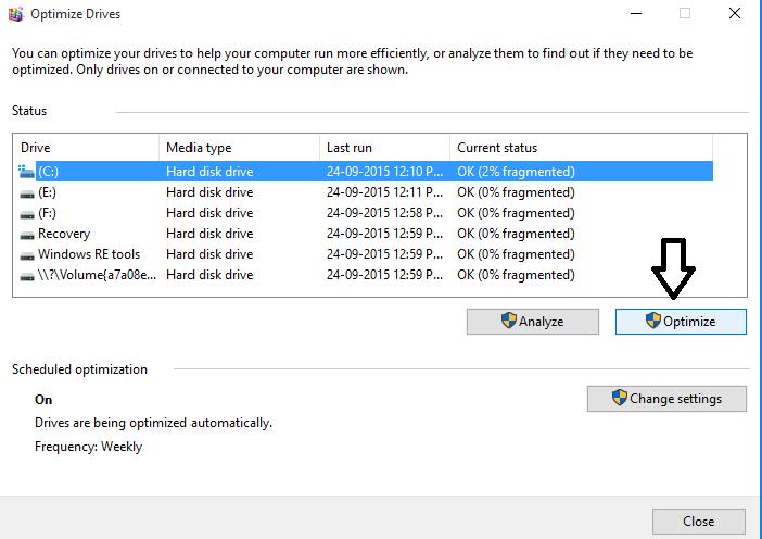 optimize Defragment Hard Disk