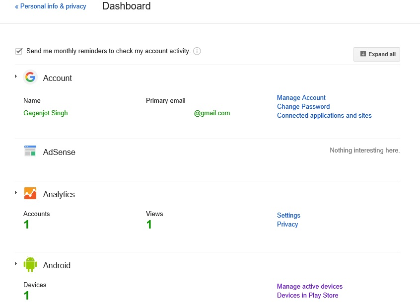 google dashboard Find Lost Android Device's IMEI Number