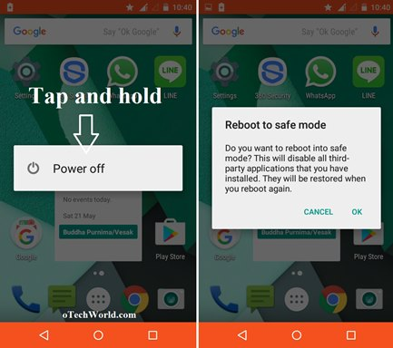 how to restart android phone in safe mode otechworld