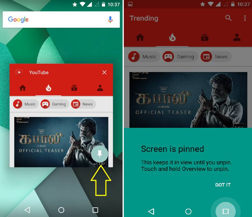 pinning the app Screen Pinning In Android