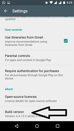 tap on build version play store