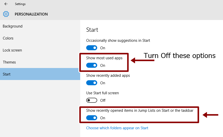 turn off options from start