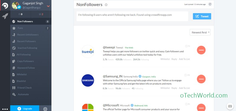 Crowdfireapp Twitter Tools To Unfollow Non-Followers