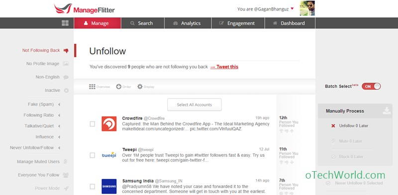 ManageFlitter Twitter Tools To Unfollow Non-Followers
