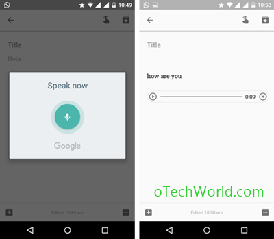 speak to text in google keep
