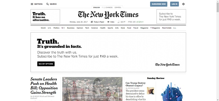The New York Times News Website