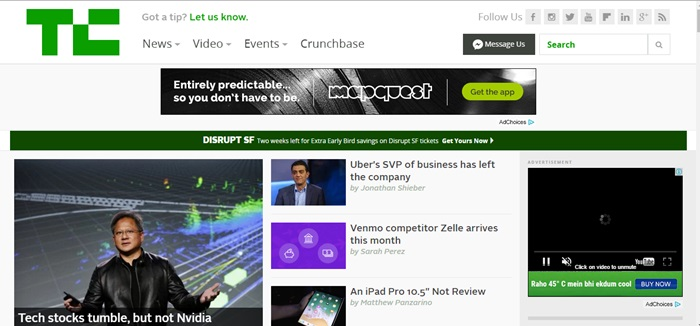 techcrunch most visited tech blog