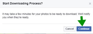 Click on Continue button to download facebook albums