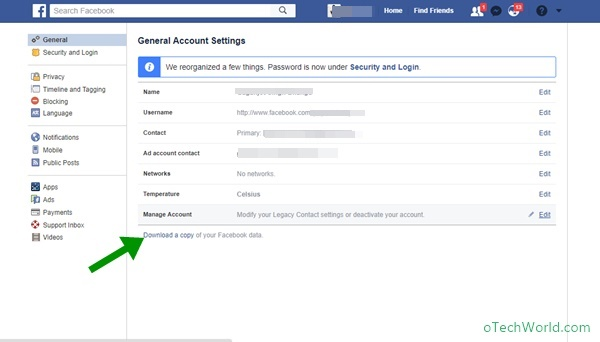 Download a copy of your Facebookdata