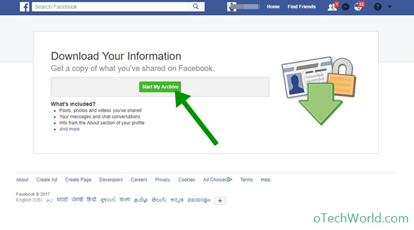 Facebook Archive to Download All Data