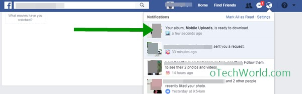 Click on the notification to download Facebook album