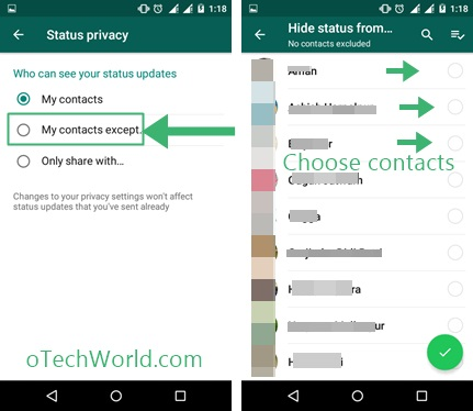 Hide Status From specific Contacts
