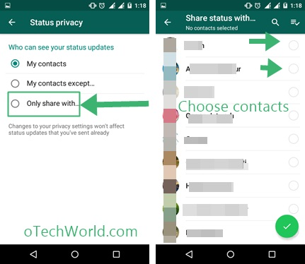 Share Whatsapp Status only with Specific Contacts