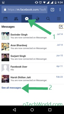 Tap on Messenger icon To View Facebook Archived Messages