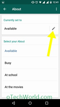 Tap on the status to change the status