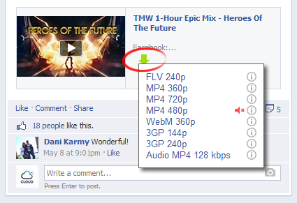 click on button to download facebook videos