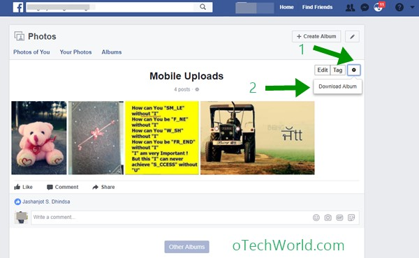 click on gear icon to download facebook albums