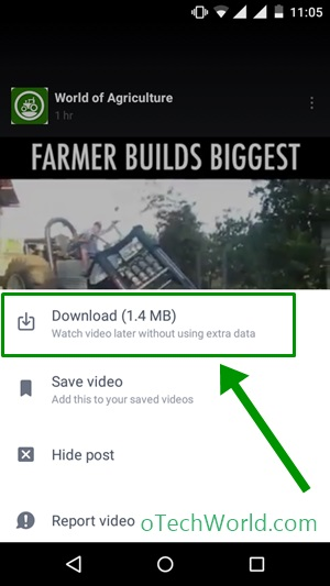 tap on Download option to Download facebook videos