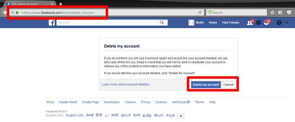 Click on Delete my account button