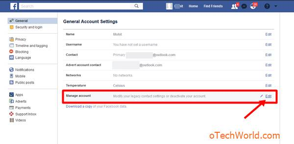 Click on Edit from Manage account option
