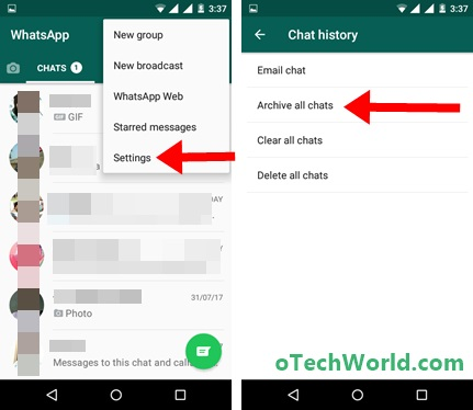 Hide or Archive All Chat conversations on Android Phone
