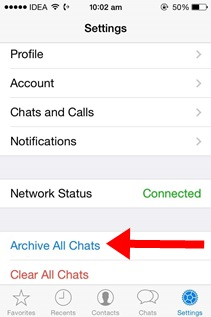 Hide or Archive All Chat conversations on iPhone