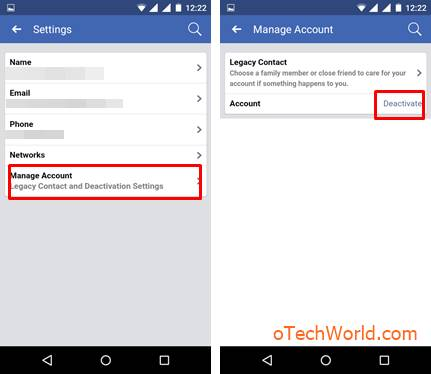 Tap on Manage Account and Tap on the Deactivate option