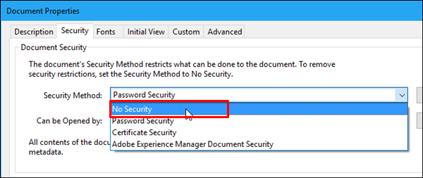 choose No Security option from Security Method