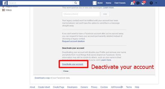 click on Deactivate your account