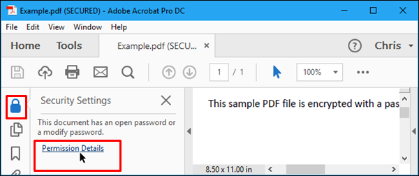 click on the Lock icon to remove password from pdf file