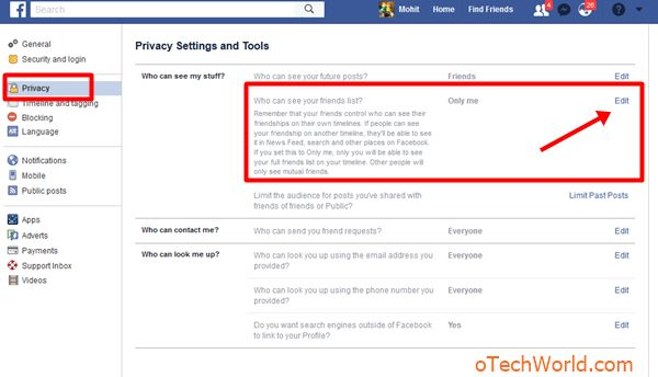 open privacy settings and click on edit