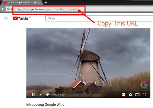 Copy the URL of YouTube Video to Download YouTube Videos With VLC Media Player