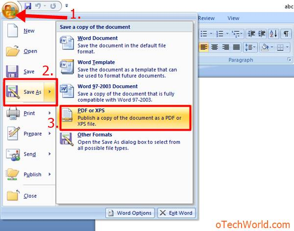 How To Convert Word To PDF In MS Office 2007