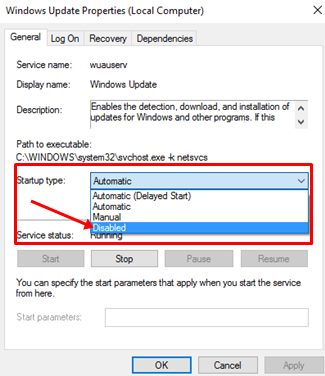 Select the Disabled option from the Startup type