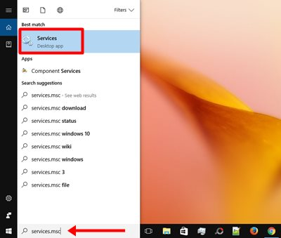 Type services in the search box