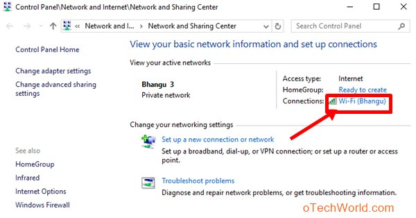 Click on your WiFi name from connections