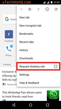 Open Facebook Computer Version by Enable Request Desktop Site On Chrome