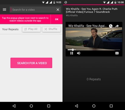 ListenOnRepeat app to repeat youtube videos