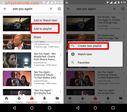 create new playlist in youtube app