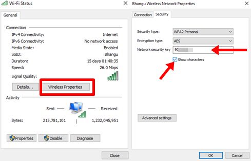 how to see the wifi password in windows 10