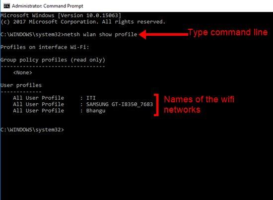 type netsh wlan show profile command