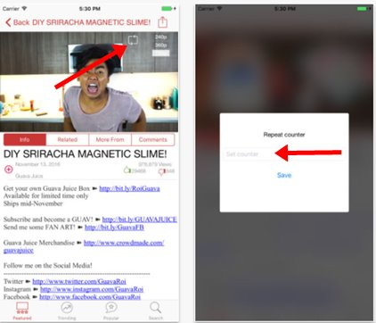 yourepeat app to loop youtube videos on iPhone