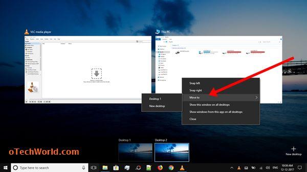 Move Windows and Apps Between Desktops