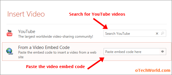 search for youtube video or paste the video embed code in powerpoint