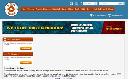 stream hunter sports streaming website
