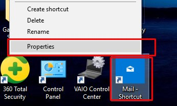open properties of app shortcut icon